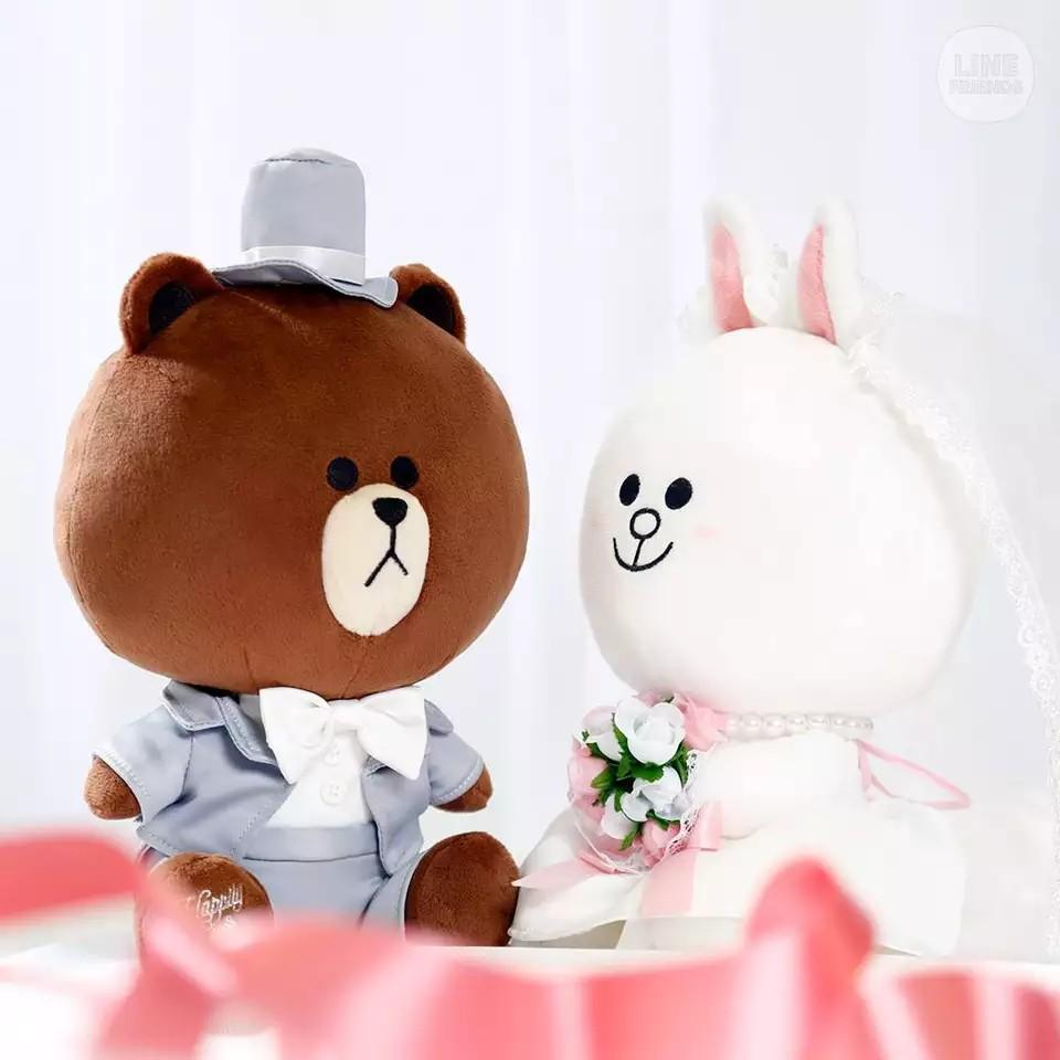 Line Wedding Brown Cony plushies