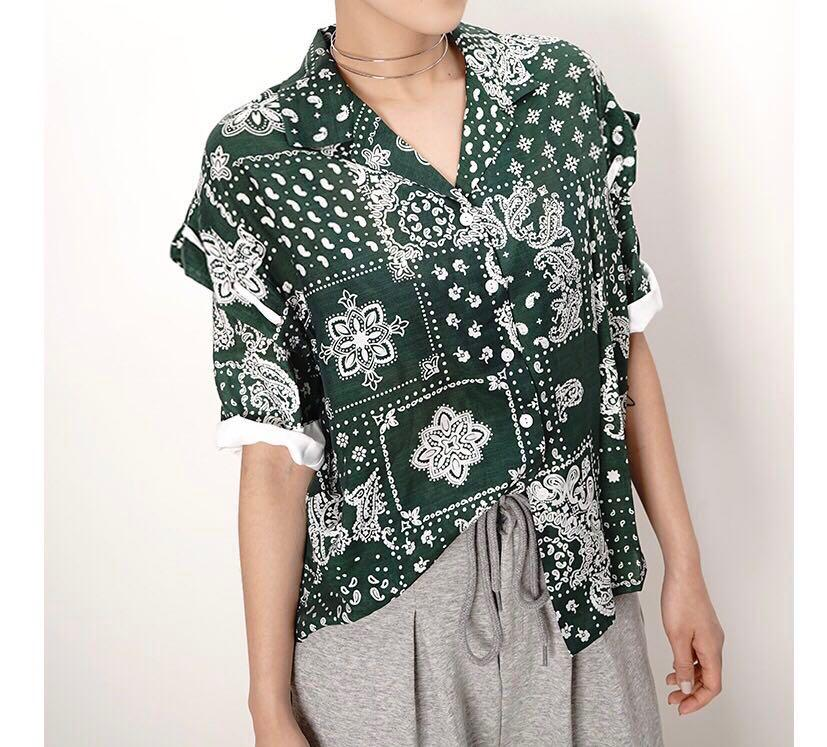 Made In Korea 韓國品牌 Green Paisley Spinning Cotton Top