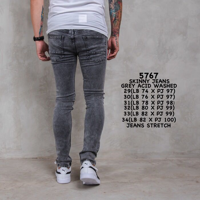 403091b7 RESTOCK Men Skinny Jeans Grey Acid Washed, Men's Fashion, Clothes, Bottoms  on Carousell