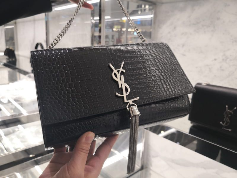 4a6cbc25c8cb Saint Laurent Medium Kate Tassel Embossed leather shoulder bag ...