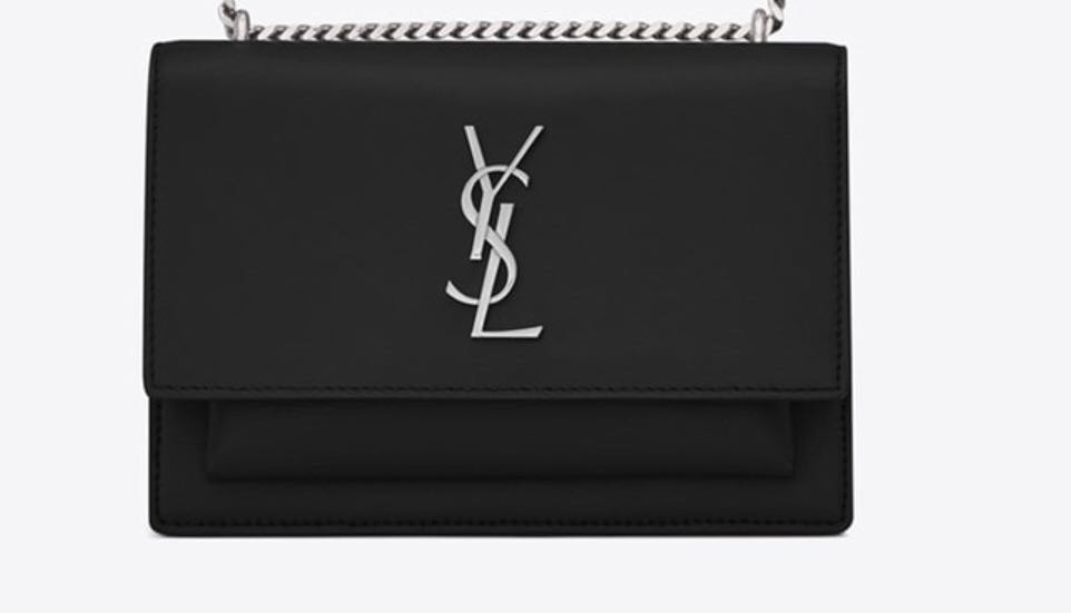 SUNSET CHAIN WALLET IN BLACK LEATHER MONOGRAM SAINT LAURENT FLAP ... 956b42eb3ac8f