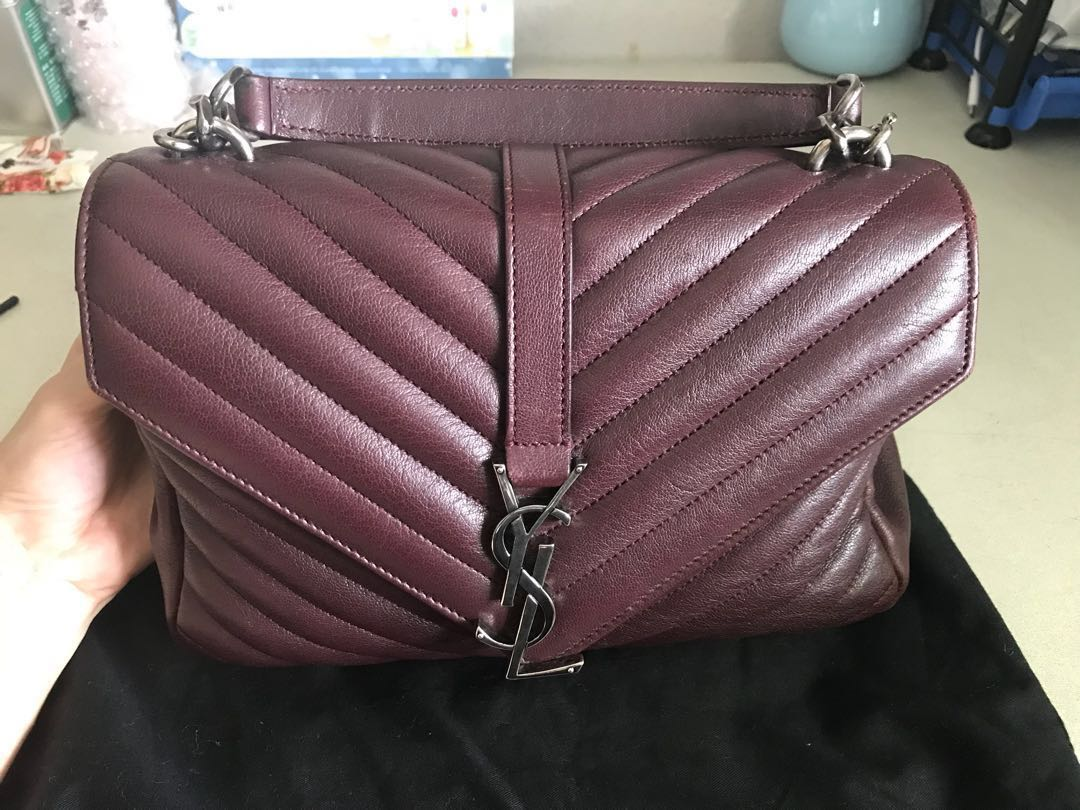 b95afd9798ea YSL Medium College Bag (Burgundy Red)