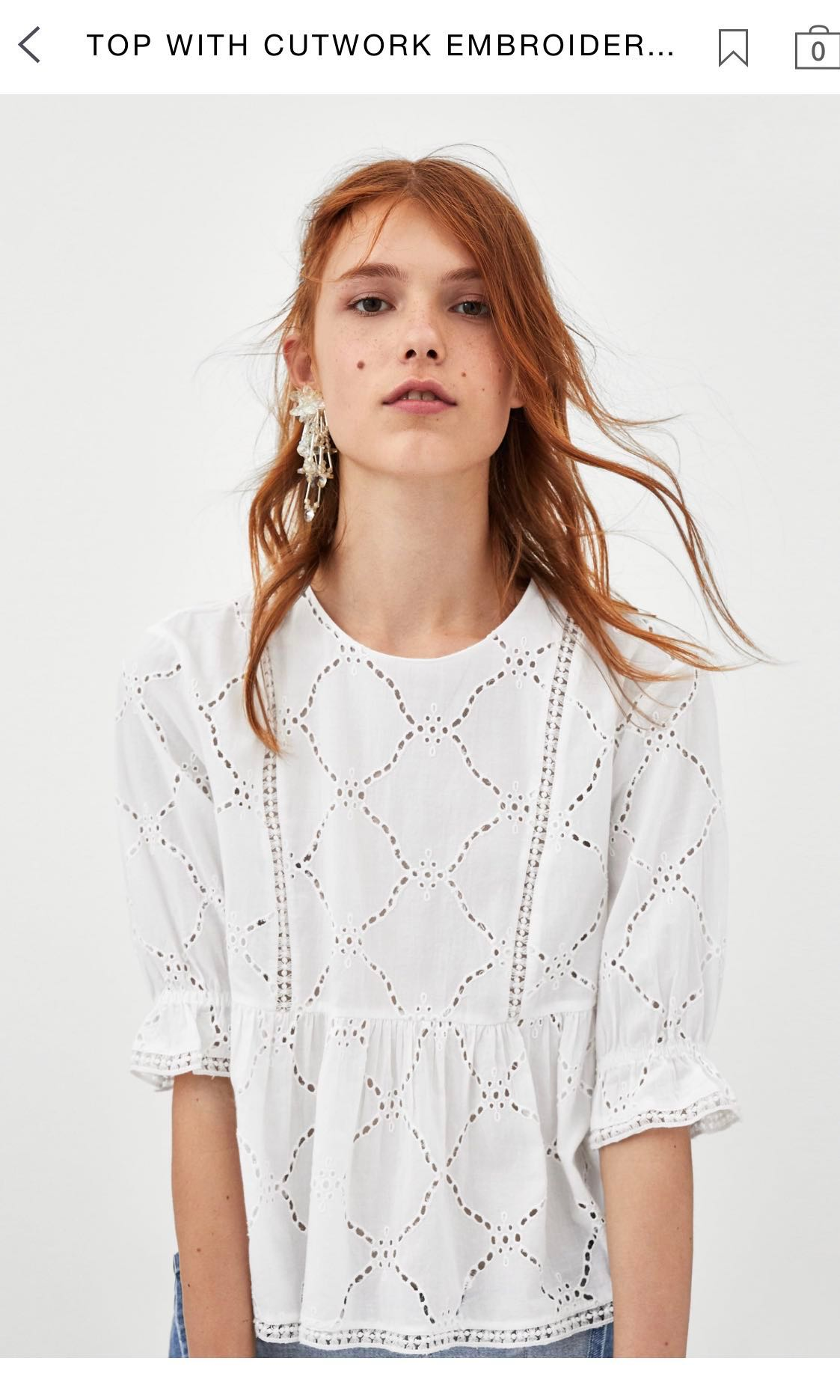 7d87155d0a4ef Zara Top with Cutwork Embroidery and Ruffles Eyelet
