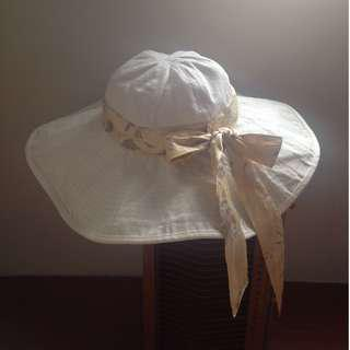 *古著二手*棉+絲製 度假風波浪寬緣帽