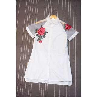KOREAN Rose Embroidery Shirt Dress (NEW without TAG)