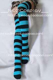 Blue&black sock | 條文高筒襪 | 黑藍