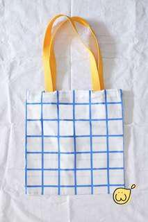 Totebag grid biru strap kuning