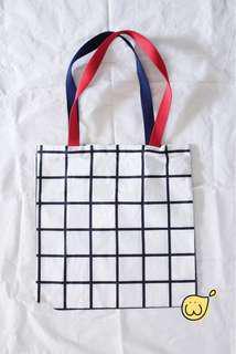Totebag tas grid strap merah navy