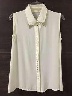 Sleeveless Metal Collared Shirt