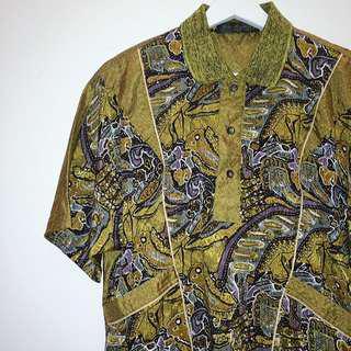 Man eater®✼黑金抽象花上衣✼ 早期義大利 光澤布料 紫棕繪畫 下擺束口 半開襟襯衫 日本古着Vintage