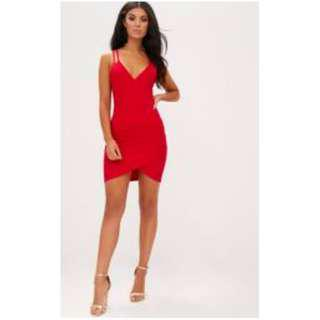Pretty Little Thing -- Red Double Strap Bodycon Dress Size 0