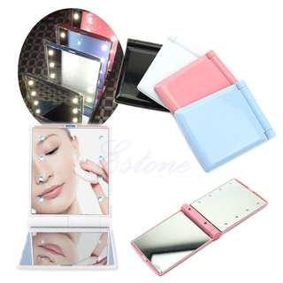 LED Portable Makeup Mirror, Foldable with 8 LED Lights