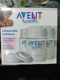 AVENT 4 Breast Milk Containers Bottles