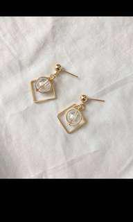 🚚 幾何圖形透明玻璃珠 耳針 金