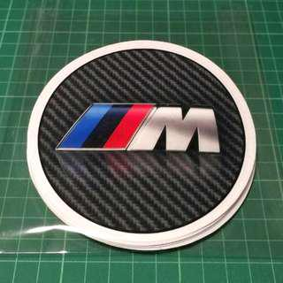 BMW M Static Cling Decals  (This is NOT a Sticker) - 110mm diameter. $6 each or 3 for $15 with Free Normal Mail. Add $2.90 for AM Mail.