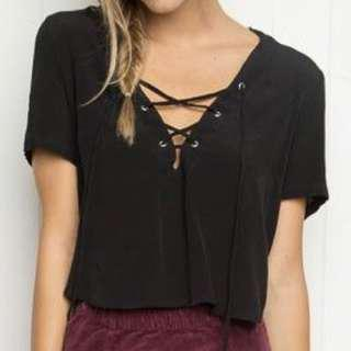 Brandy Melville Lace Up Top