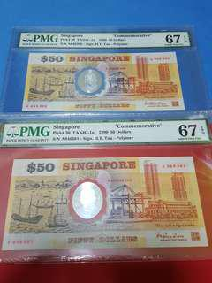 $50- Commerative note 1990.running pair ..both Pmg67Epq.A/046390-A/046391
