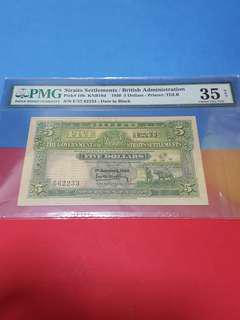 A Rare pc of $5-1930.straits settlements.original previously mouted strong paper .PMG35 NET.