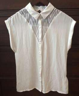H&M White Button Down/Blouse, Size 2