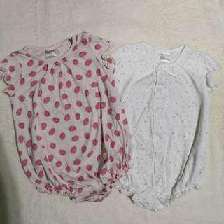 H&M Organic Cotton Onesies - Strawberries and Polka Dots (Set of 2=