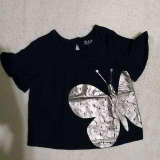 Cotton On Baby Navy Blue Butterly Top