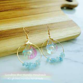 Goodbye Blue Monday 美人魚系列天然石海藍寶耳環earrings