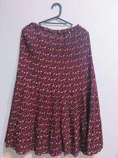 🚚 🔻降價🔻紅色碎花雪紡百摺魚尾裙
