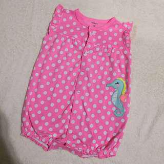 Carter's Pink Polk Seahorse Romper