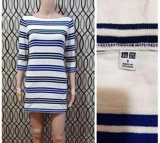 Uniqlo striped 3/4 sleeve dress