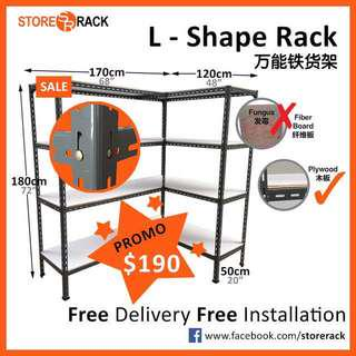 Grey L Shape Storage Rack for Storeroom & Bombshelter