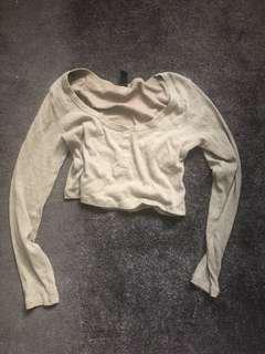 Khaki button down crop top