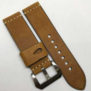 Premium Grade 24mm Watch Strap Brown Colour Crazy Horse Genuine Leather With Single Line Stitching