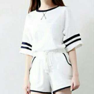 Two Piece T-Shirt and Shorts [White]