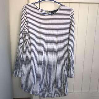 mink pink stripey short dress size 8