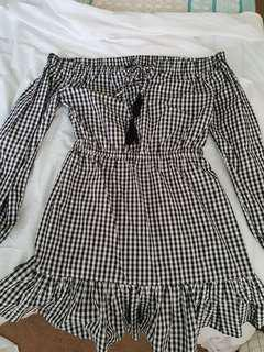 Off the shoulder gingham dress
