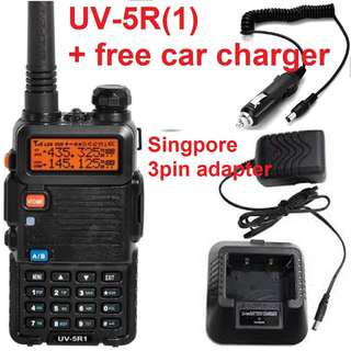 🚚 🐽 CNY Sale!!! 🐖 $49 only with car charger! BUMPED Baofeng UV-5R(1) [improved UV-5R ] 5W Walkie Talkie Transceiver Dual Band VHF/UHF 136-174Mhz & 400-520Mhz EXPORT Bulk package (No box) Long range 5W Black for convoy