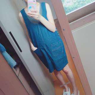 孕婦裝 深藍色 牛仔 口袋 背心裙 吊帶裙