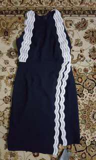 Lace Trim Side Slit Pencil Dress