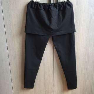 孕婦裝 黑色 假二件式 彈性長褲 腰圍鬆緊