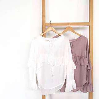 Ruffle blouse in Dusty Pink