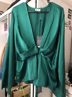 Emerald drape blouse