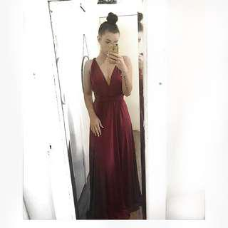 Formal maroon infinity dress