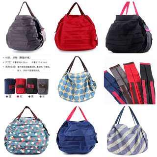 韓日版本快速折疊收納環保袋旅行沙灘秒收春卷袋超市手拎手提女單肩包