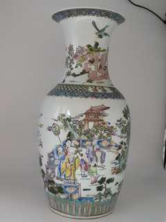 大清康熙年款 粉彩 人物紋花瓶