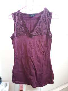 Sleeveless Maroon H&M