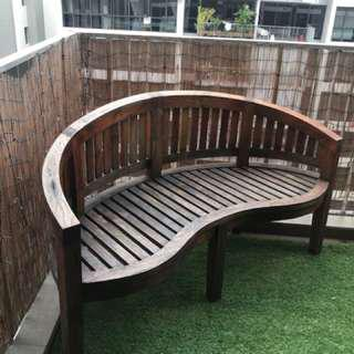 Teak 3 Seater Curved Bench