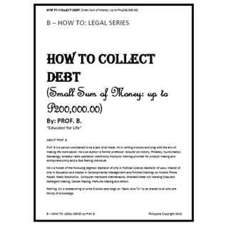 B - How To Series - COLLECT DEBT (e-book)