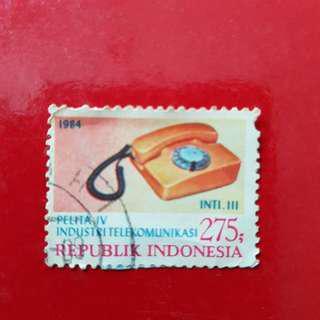 Indonesia Stamp year 1984-Rp 275 Pelita IV Industri Telekomunikasi