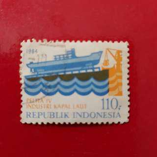 Indonesia Stamp year 1984-Rp 110 Pelita IV Industri Kapal Laut