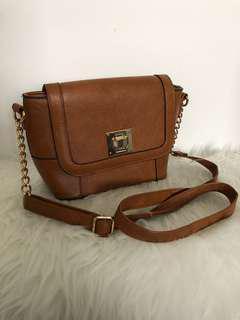 Brown Faux Leather Shoulder Bag with Gold Details